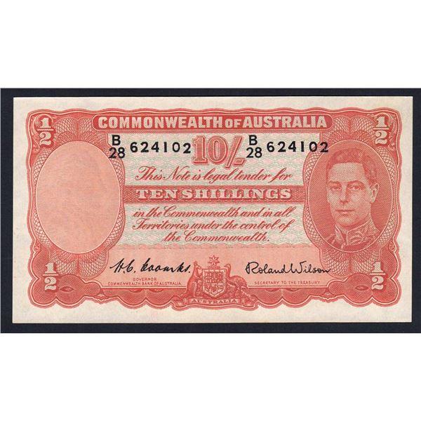 AUSTRALIA 10/-. 1952. Coombs-Wilson. Last Signature for George VI