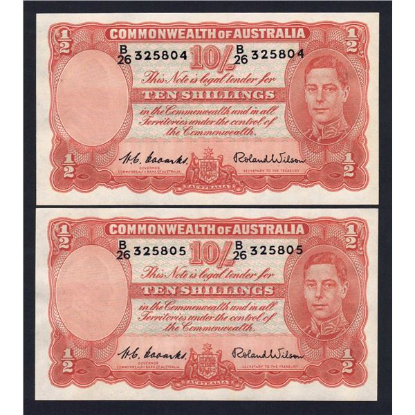 AUSTRALIA 10/-. 1952. Coombs-Wilson. CONSECUTIVE PAIR