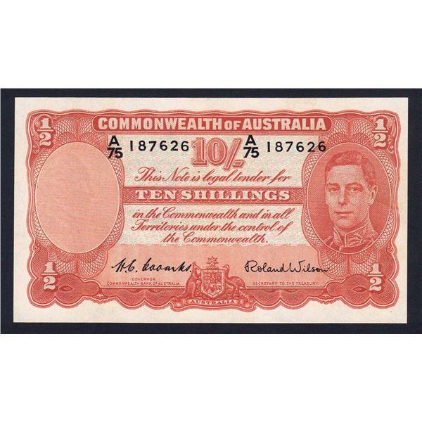 "AUSTRALIA 10/-. 1952. Coombs-Wilson. RARE 1ST PREFIX ""A/75"""