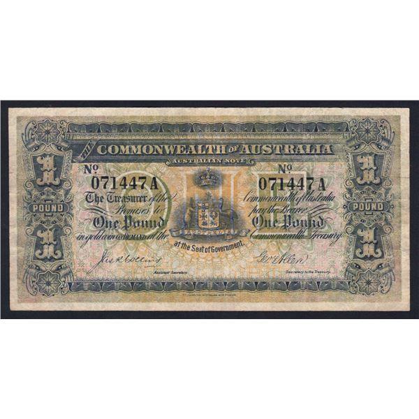 "AUSTRALIA £1. 1913. Collins-Allen. Suffix Letter. SCARCE 1ST SUFFIX ""A"""