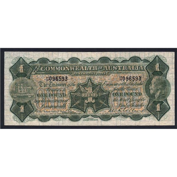 AUSTRALIA £1. 1923. Miller-Collins. WITH IMPRINT