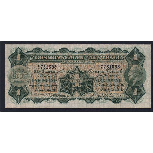 AUSTRALIA £1. 1923. Miller-Collins. IMPRINT OMITTED