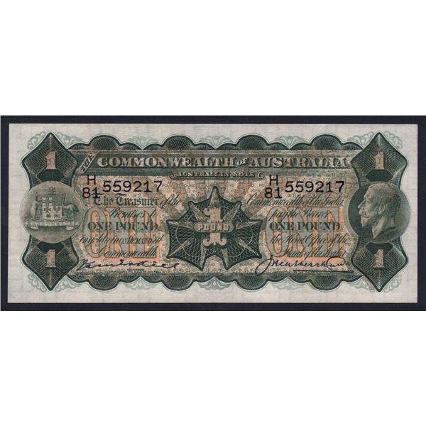 AUSTRALIA £1. 1927. Kell-Heathershaw. SUPERB CONDITION!