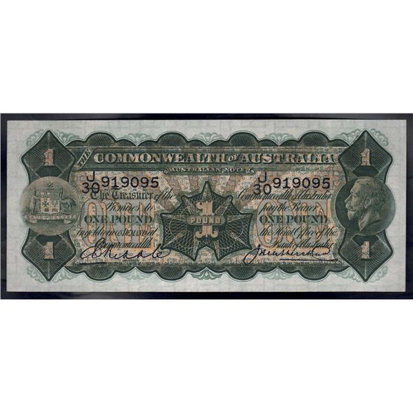 "AUSTRALIA £1. 1927. Riddle-Heathershaw. ""CAPTAIN COOK'S LANDING"""