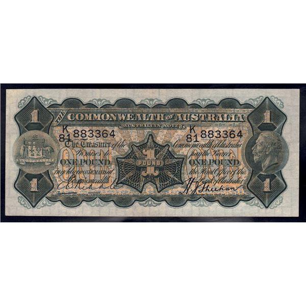 AUSTRALIA £1. 1932. Riddle-Sheehan. THICK SIGNATURE OF SHEEHAN