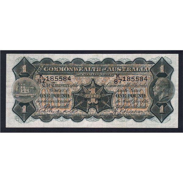 AUSTRALIA £1. 1932. Riddle-Sheehan. THIN SIGNATURE OF SHEEHAN