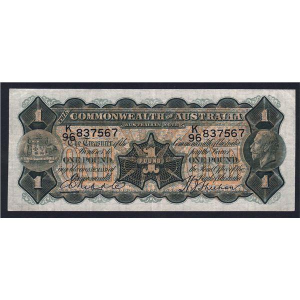 AUSTRALIA £1. 1932. Riddle-Sheehan. Thin Signature