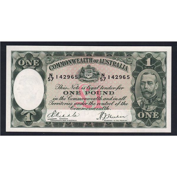 AUSTRALIA £1. 1933. Riddle-Sheehan. GEORGEOUS GEORGE V TYPE NOTE!