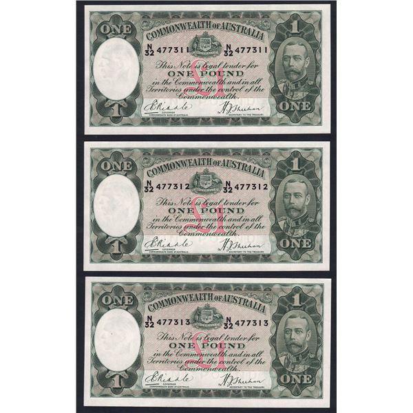 AUSTRALIA £1. 1933. Riddle-Sheehan. RARE CONSECUTIVE TRIO