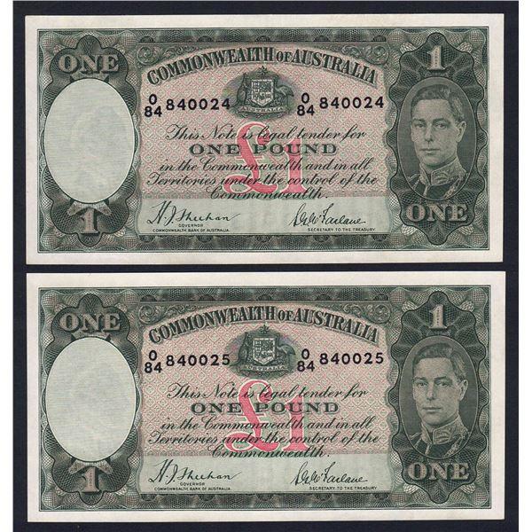 AUSTRALIA £1. 1938. Sheehan-McFarlane. CONSECUTIVE PAIR