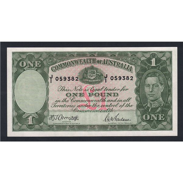 "AUSTRALIA £1. 1942. Armitage-McFarlane. Light Green. EARLY PREFIX ""J/1"""