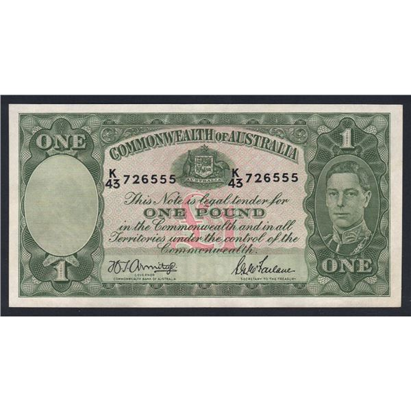 "AUSTRALIA £1. 1942. Armitage-McFarlane. Light Green. SCARCE LUCKY NUMBER ""555"""