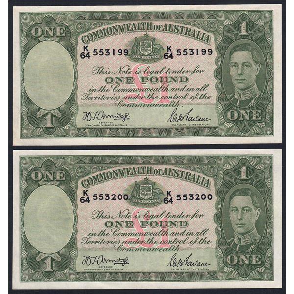 AUSTRALIA £1. 1942. Armitage-McFarlane. Light Green. CONSECUTIVE PAIR