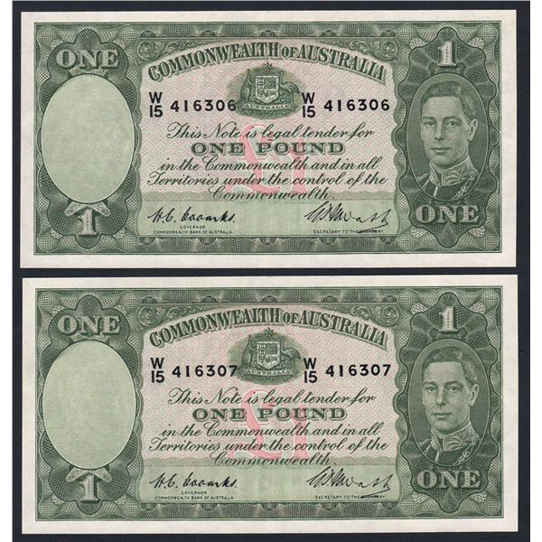 AUSTRALIA £1. 1949. Coombs-Watt. CONSECUTIVE PAIR