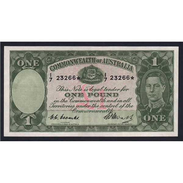 "AUSTRALIA £1. 1949. Coombs-Watt. RARE & CHOICE STAR* REPLACEMENT Prefix ""I/7"""