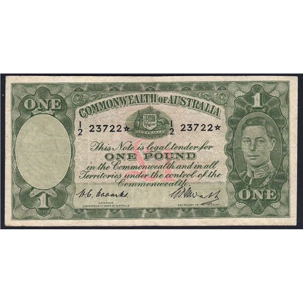 "AUSTRALIA £1. 1949. Coombs-Watt. STAR* REPLACEMENT Prefix ""I/2"""