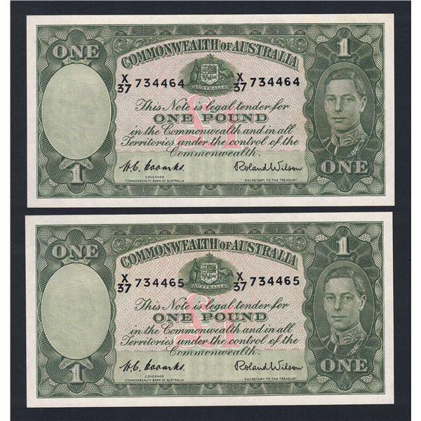 AUSTRALIA £1. 1952. Coombs-Wilson. CONSECUTIVE PAIR