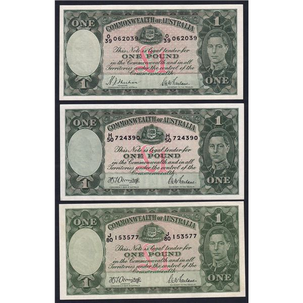 AUSTRALIA £1. 1938-1952. SET OF 4 SIGS + EXTRA SHADE VARIETY (TOTAL 5 NOTES)
