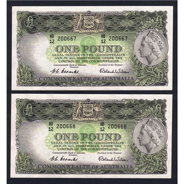 AUSTRALIA £1. 1953. Coombs-Wilson. Commonwealth Bank. CONSECUTIVE PAIR