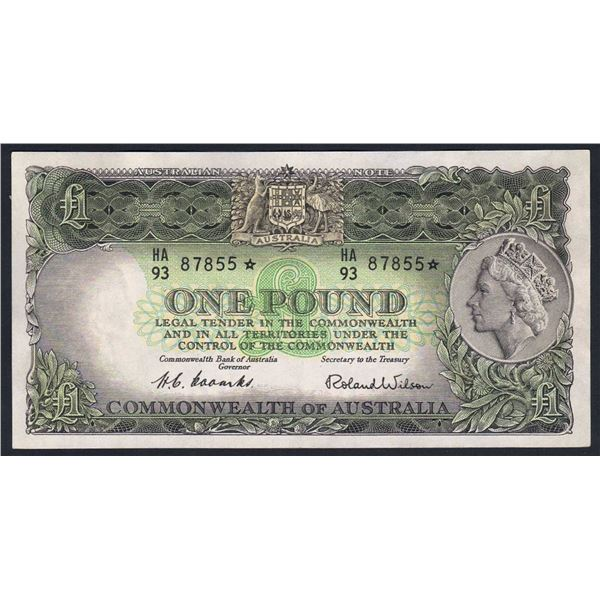 "AUSTRALIA £1. 1953. Coombs-Wilson. RARE STAR* REPLACEMENT Prefix ""HA/93"""