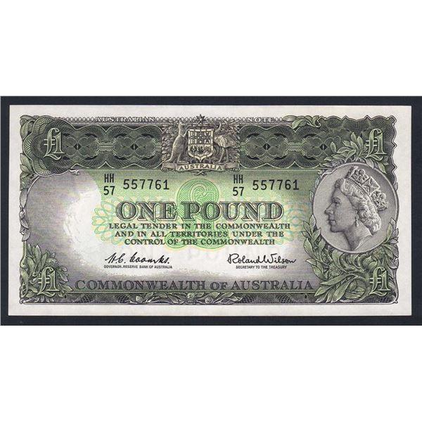 AUSTRALIA £1. 1961. Coombs-Wilson. RESERVE BANK. DARK GREEN