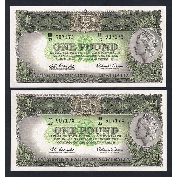 AUSTRALIA £1. 1961. Coombs-Wilson. Dark Green. CONSECUTIVE PAIR