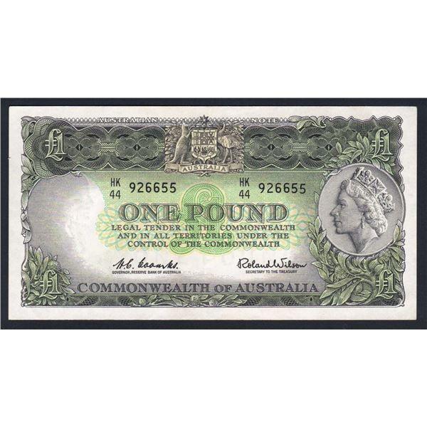 AUSTRALIA £1. 1961. Coombs-Wilson. RESERVE BANK. EMERALD GREEN