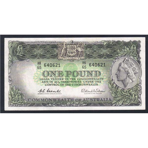 "AUSTRALIA £1. 1961. Coombs-Wilson. Emerald Green. SCARCE LAST PREFIX ""HK/65"""