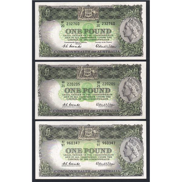 AUSTRALIA £1. 1953-1961. SET OF 2 SIGS + EXTRA SHADE VARIETY (TOTAL 3 NOTES)