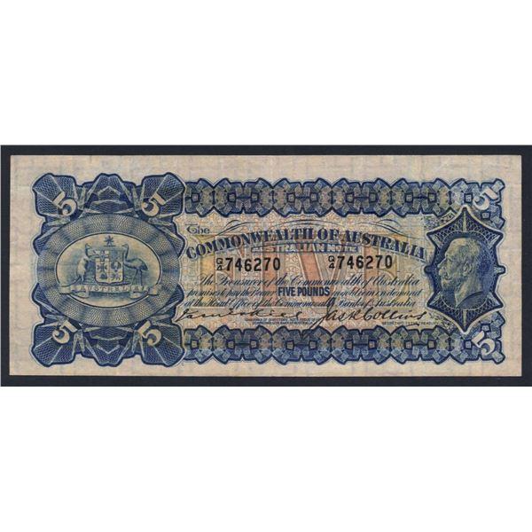 AUSTRALIA £5. 1924. Kell-Collins. BLACK SIGNATURE VARIETY