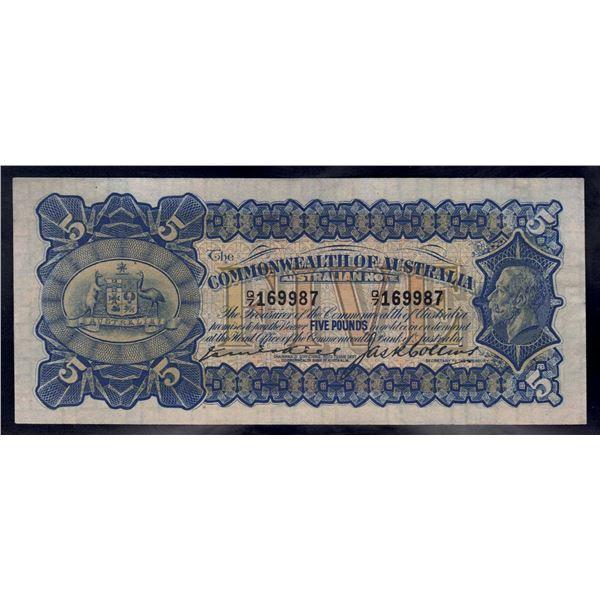 """AUSTRALIA £5. 1924. Kell-Collins. BLUE SIGNATURES + LAST PREFIX """"Q/7"""""""