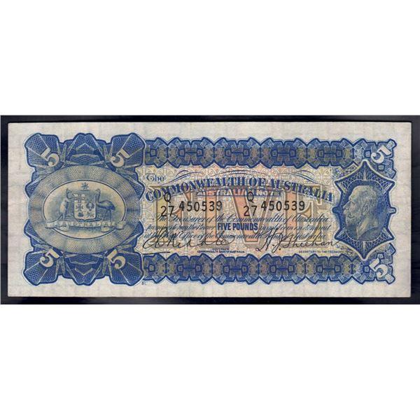 AUSTRALIA £5. 1932. Riddle-Sheehan. ELUSIVE SIGNATURE COMBINATION!