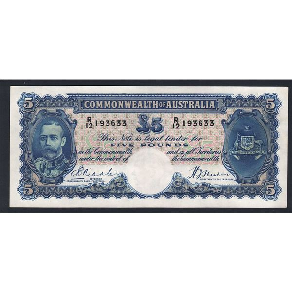 "AUSTRALIA £5. 1933. Riddle-Sheehan. ""WHITE FACE"" TO KING"