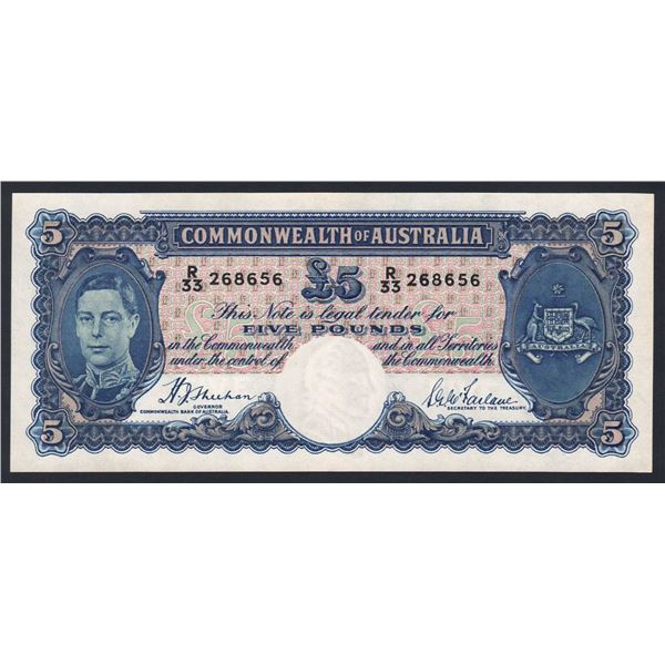 AUSTRALIA £5. 1939. Sheehan-McFarlane. BLUE SIGNATURES