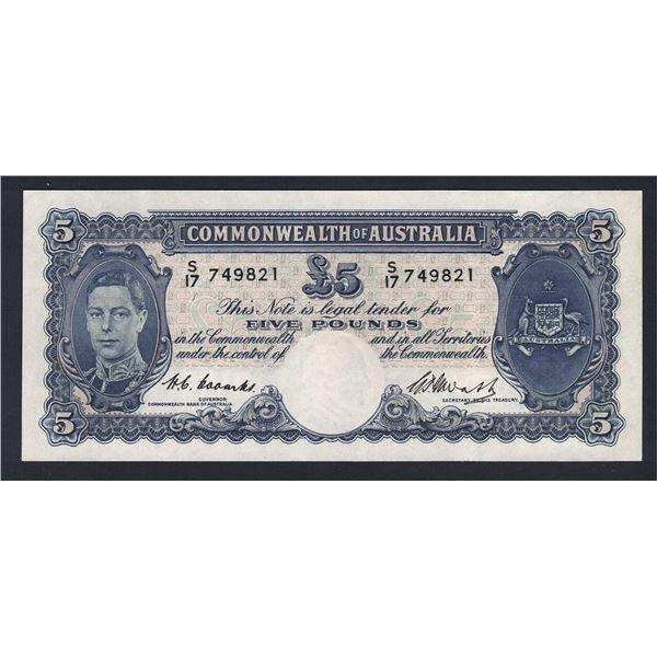 AUSTRALIA £5. 1949. Coombs-Watt. SCARCE POST-WWII AUSTERITY ISSUE