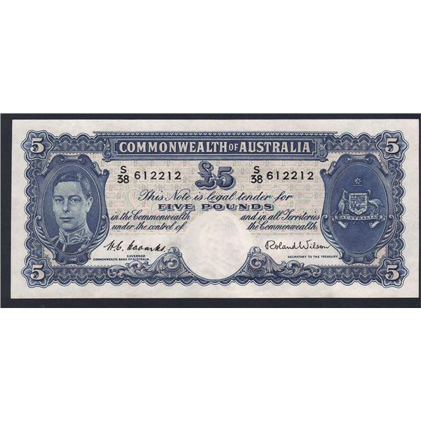 AUSTRALIA £5. 1952. Coombs-Wilson. LAST SIGNATURE  FOR GEORGE VI