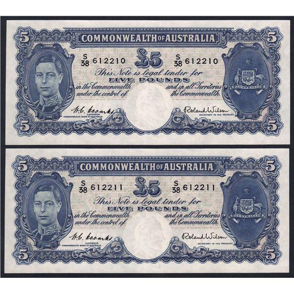AUSTRALIA £5. 1952. Coombs-Wilson. CONSECUTIVE PAIR
