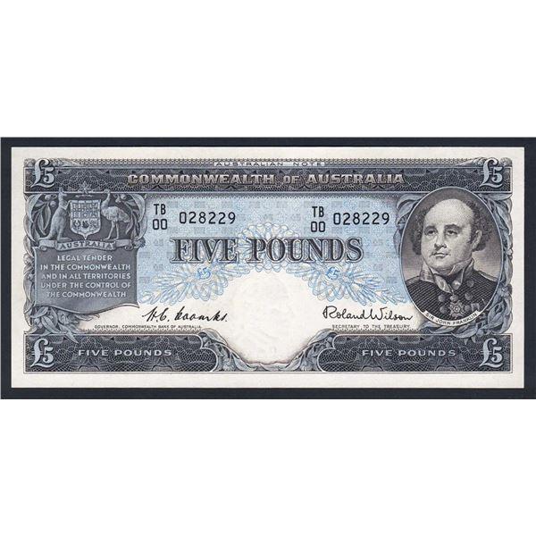 "AUSTRALIA £5. 1954. Coombs-Wilson. Commonwealth Bank. EARLY PREFIX ""TB/00"""