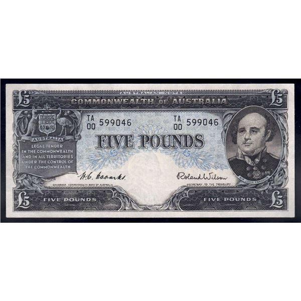 "AUSTRALIA £5. 1954. Coombs-Wilson. Commonwealth Bank. RARE 1ST PREFIX ""TA/00"""