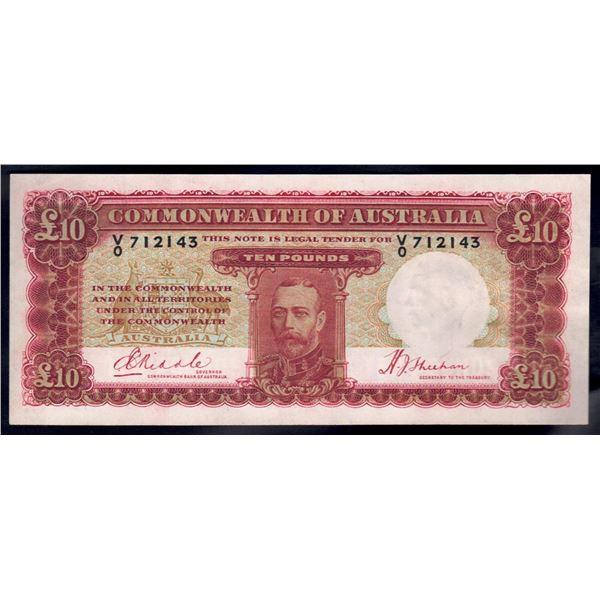 """AUSTRALIA £10. 1934. Riddle-Sheehan. RARE 1ST PREFIX """"V/0"""""""