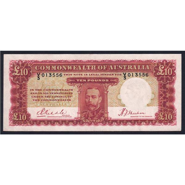 "AUSTRALIA £10. 1934. Riddle-Sheehan. RARE LAST PREFIX ""V/3"""