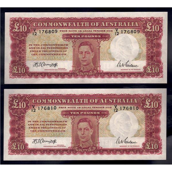 AUSTRALIA £10. 1943. Armitage-McFarlane. CONSECUTIVE PAIR