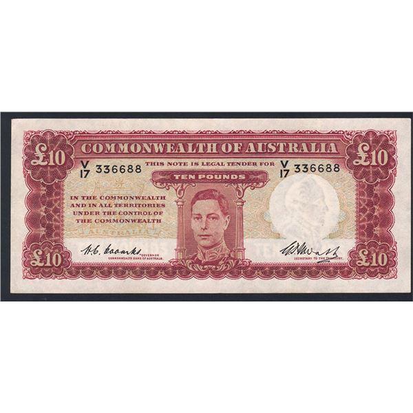 """AUSTRALIA £10. 1949. Coombs-Watt. NICE SERIAL NUMBER """"336688"""""""