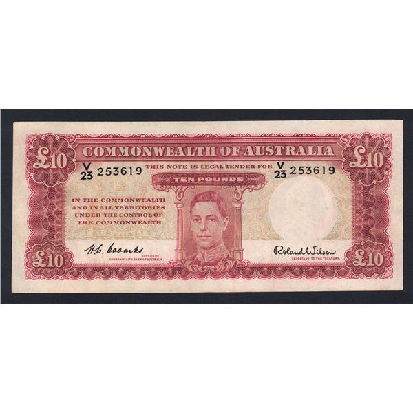 AUSTRALIA £10. 1952. Coombs-Wilson. ELUSIVE SIGNATURE VARIETY
