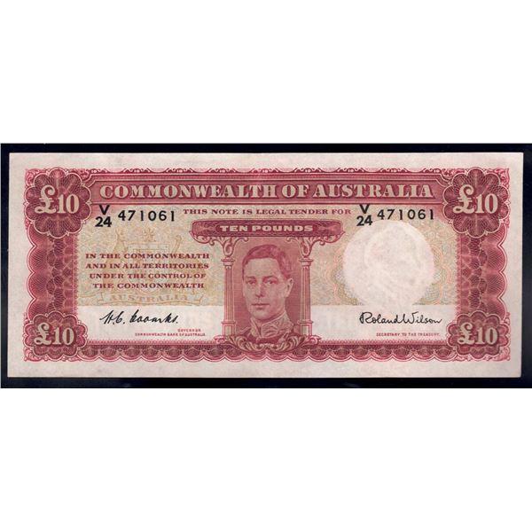 "AUSTRALIA £10. 1952. Coombs-Wilson. LAST PREFIX ""V/24"""