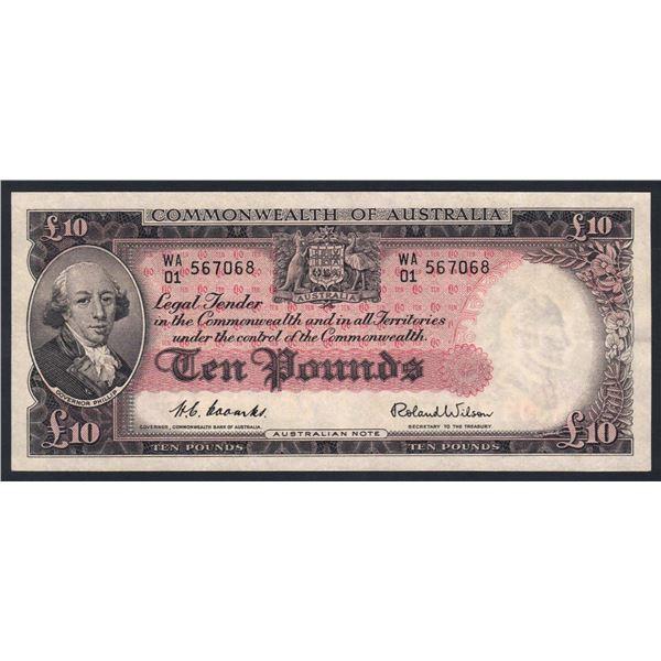"AUSTRALIA £10. 1954. Coombs-Wilson. Commonwealth Bank. 2ND PREFIX ""WA/01"""