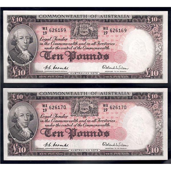 AUSTRALIA £10. 1954. Coombs-Wilson. Commonwealth Bank. CONSECUTIVE PAIR