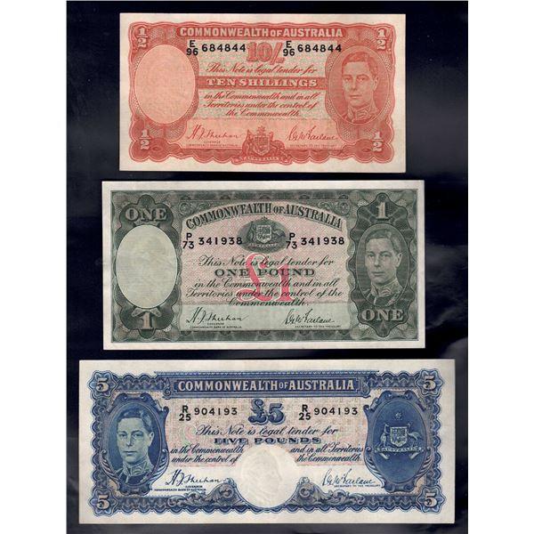 AUSTRALIA 10/-,£1,£5. 1938-39. Sheehan-McFarlane. RAREST SIGS - PART SET OF 3