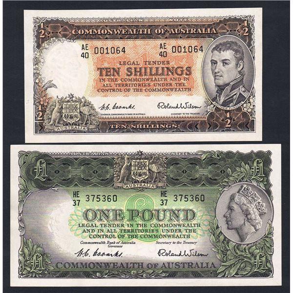 AUSTRALIA 10/- to £10. 1953-54. Coombs-Wilson. COMMONWEALTH BANK - SET OF 4