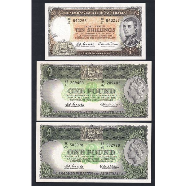 AUSTRALIA 10/- to £10. 1960-61. Coombs-Wilson. RESERVE BANK - SET OF 5*